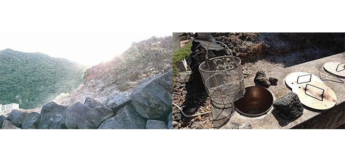 岩の写真、釜の写真
