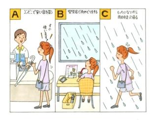 雨が降ったときの女性のイラスト
