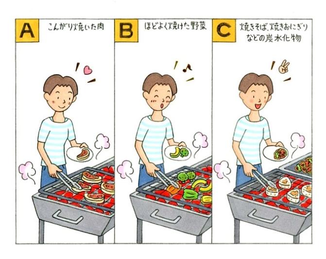 BBQをしている女性のイラスト