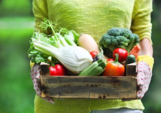 多種多様の野菜が入った木箱を持っている女性の画像