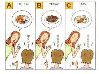 お昼ご飯を決める女性のイラスト