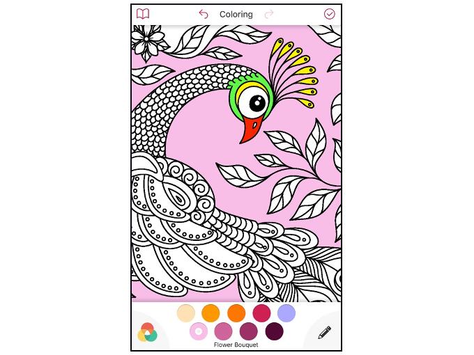 色を塗られたクジャクのイラストの画像