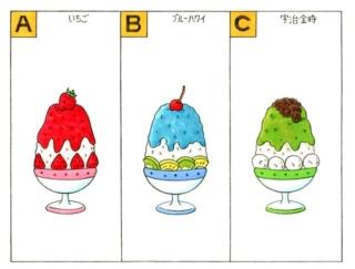 【心理テスト】あなたの好きなかき氷の味は、次の3つのうちのどれ?