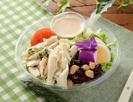 「1食分のプロテインサラダ(コブドレッシング)」の画像