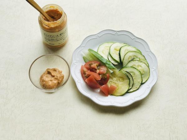 無印のディップソースと野菜