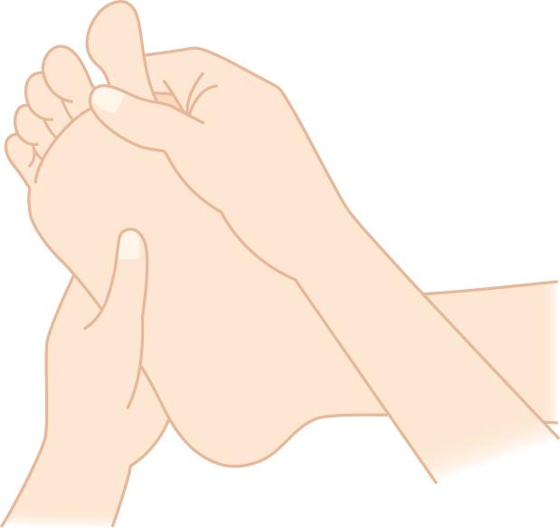 足指をもむイラスト