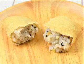 秋らしさを感じるいなり寿司! 栗がたっぷり入ったローソンの「おいなりさん もち麦入り栗 2個」
