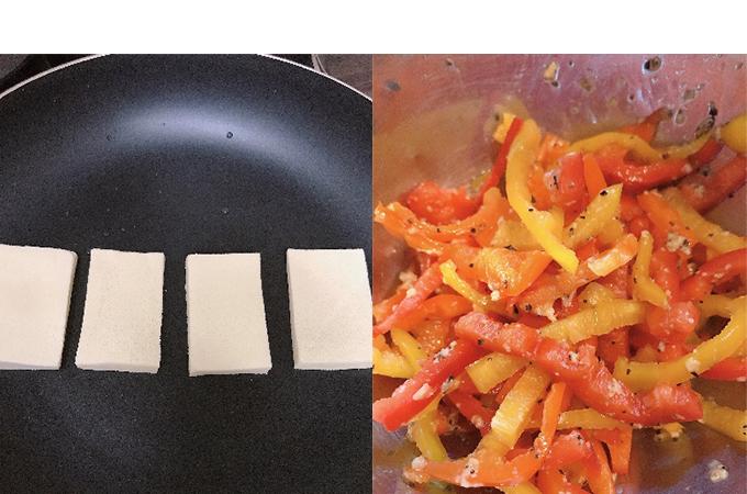 フライパンにのせた高野豆腐(左)と、塩麹とブラックペッパーで和えたパプリカ(右)