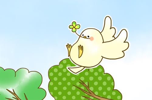 右上の小鳥