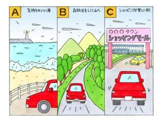 【心理テスト】気になる人からドライブのお誘いが。あなたならどこに行きたい?