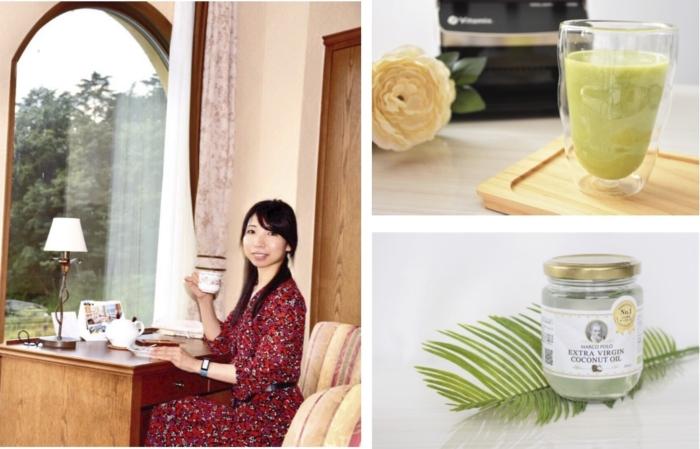 紅茶を飲んでいる森田さんとアボカドジュース、ココナッツオイル瓶