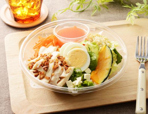 「1食分のプロテインサラダ(人参ドレッシング)」の画像