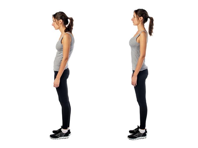 姿勢が良い女性と姿勢が悪い女性の画像