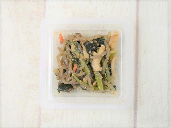 蓋を開けた「小松菜としめじの胡麻和え」の画像