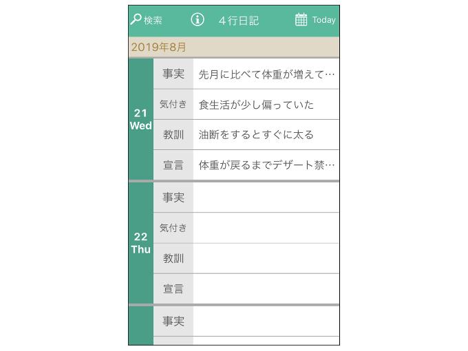 トップ画面に日記が表示された画像