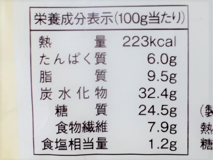 「糖質オフのしっとりパンかぼちゃサラダ 2個入」のカロリー表の画像