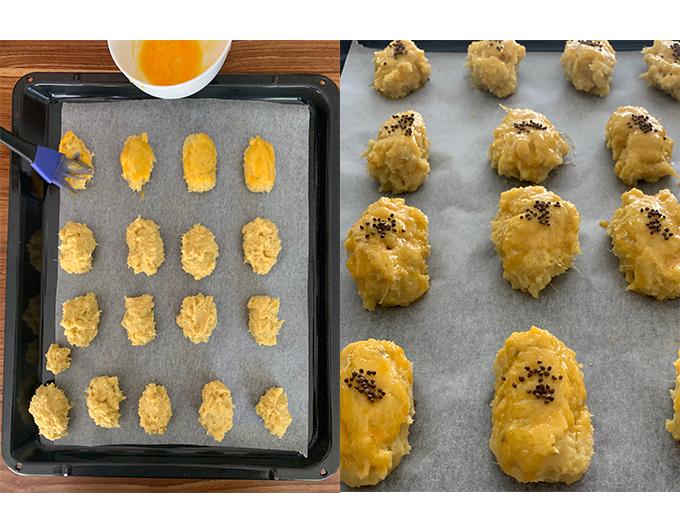 お好みの大きさに丸め、 卵黄(1個分)を塗り、 210度のオーブンで15分ほど焼きます。