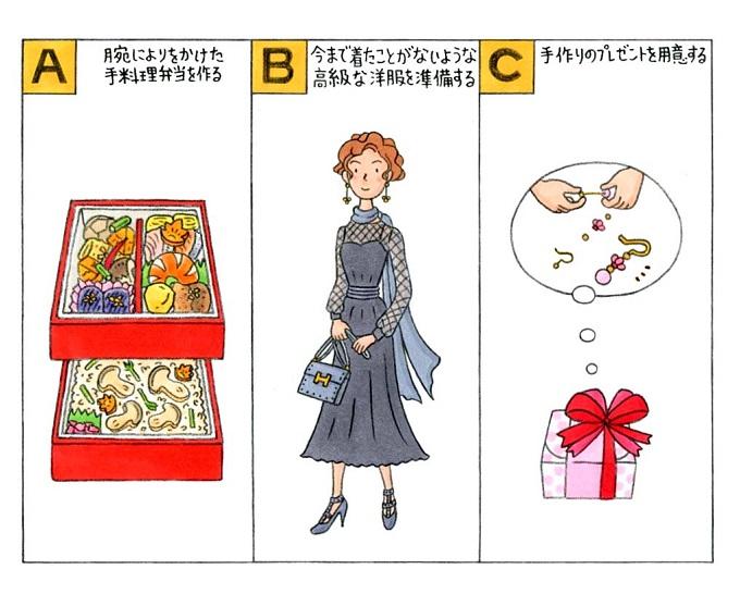 弁当と女性とプレゼントのイラスト