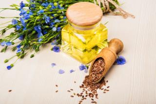 アマの花とアマニ油の画像