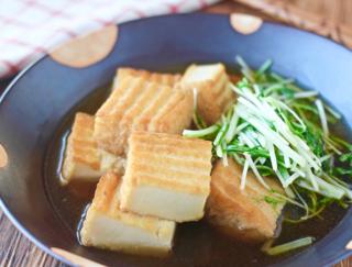 煮汁がしみ込むとさらにおいしい♪「水菜と厚揚げの煮びたし」 #今日の作り置き