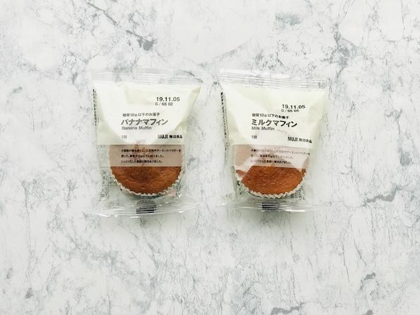 糖質10g以下のミルクマフィン(右)とバナナマフィン(左)