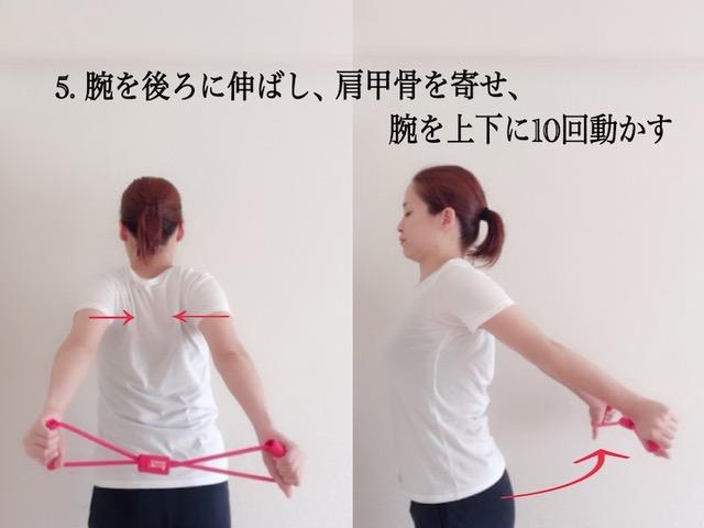 肩甲骨を寄せて腕を上下に動かす
