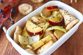 秋の味覚×特性ソースで新感覚のおいしいさ♪ 「鶏むね肉とさつまいものマヨポン炒め」