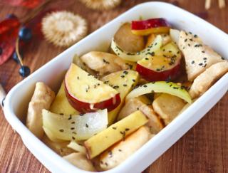 秋の味覚×特性ソースで新感覚のおいしいさ♪ 「鶏むね肉とさつまいものマヨポン炒め」 #今日の作り置き