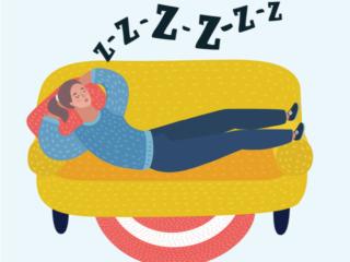 ソファーでいびきをかいて寝ている人のイラスト