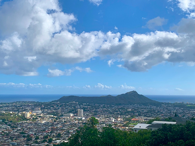 ハワイの町並みを一望した景色