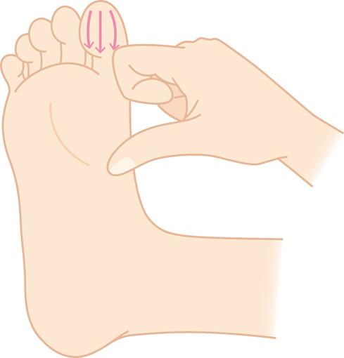 足指をしごくイラスト