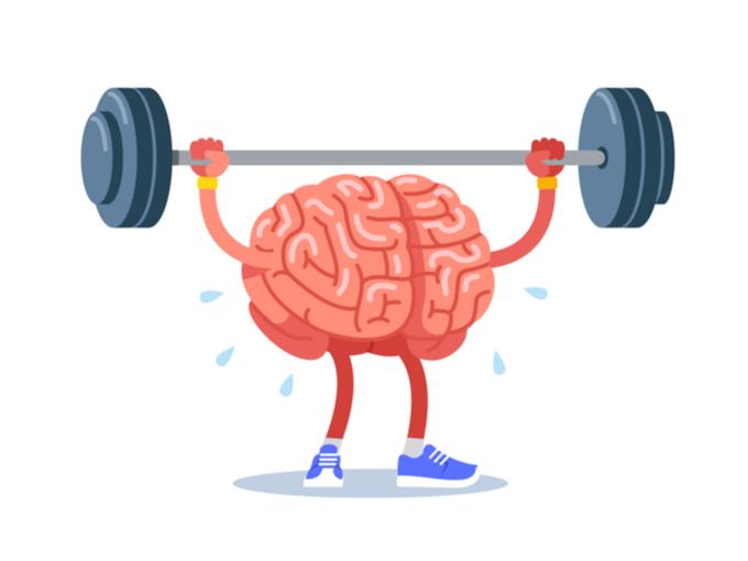 擬人化された脳がバーベルをバランスよく持ち上げているイラスト