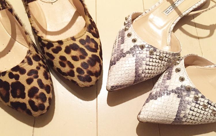 レオパード柄とパイソン柄の靴