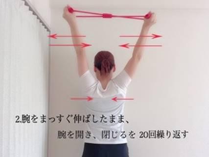 腕を伸ばしたまま腕を開いたり閉じたりする