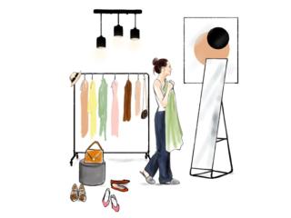洋服選びに迷っている女性のイラスト