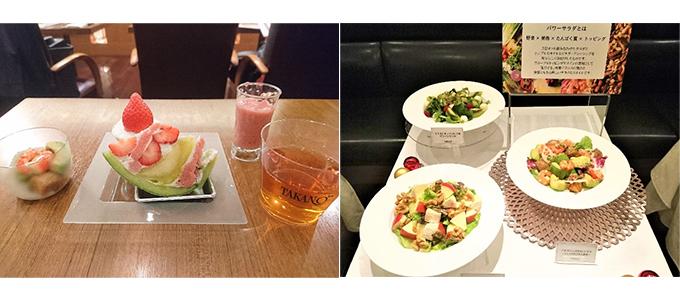 フルーツを使った試食とサラダ3皿の写真