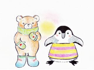 クマとペンギンのイラスト画像