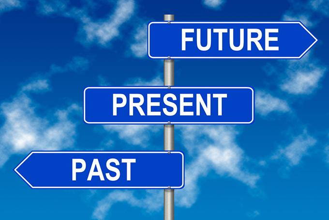 未来、現在、過去の看板の写真