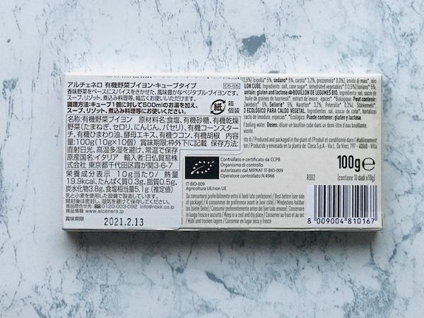 パッケージの裏面に記載された表示
