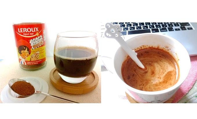 インスタントチコリのお湯割とミルク割の画像2つ