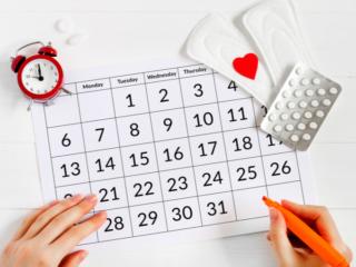 カレンダーに記録する女性の手もと