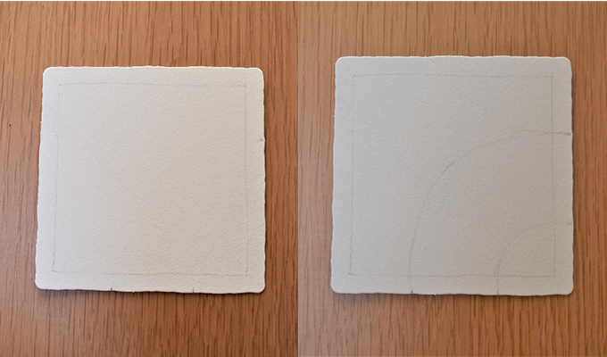 四角が描いてある紙と曲線が描いてある紙