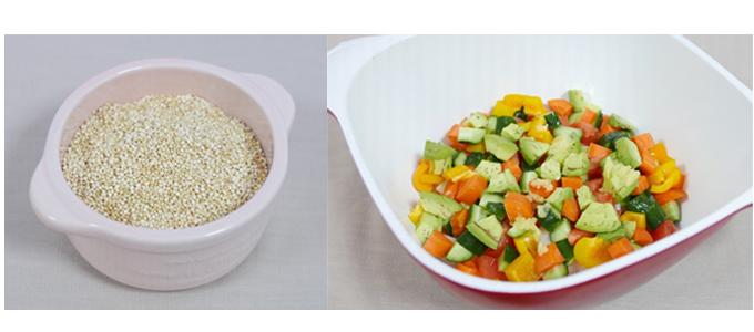 キヌア(左)と切った野菜(右)