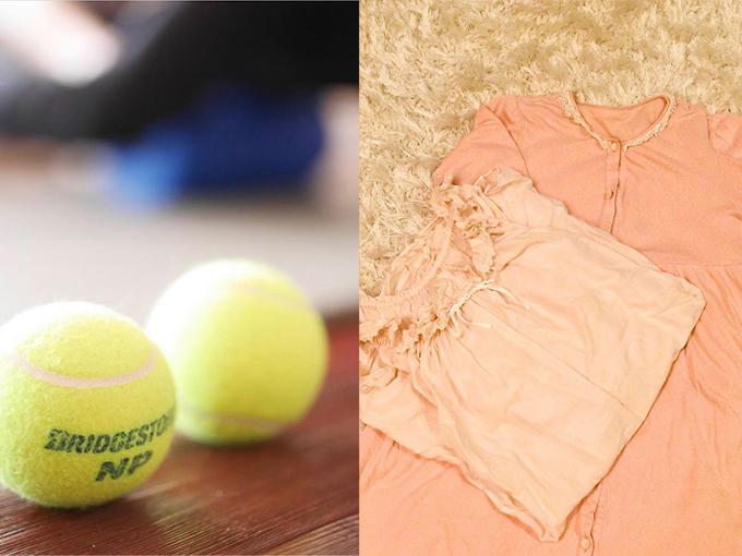 テニスボールとナイトウェアの画像