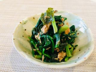 超カンタン副菜であと1品!「ほうれん草とツナののり和え」#今日の作り置き