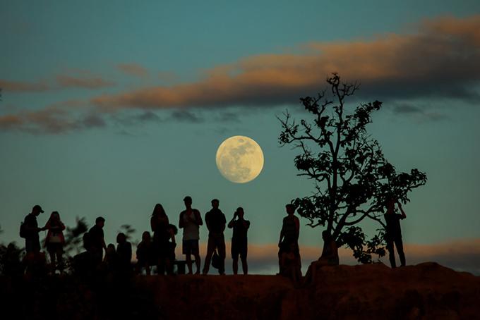 大人数で月を見ている画像