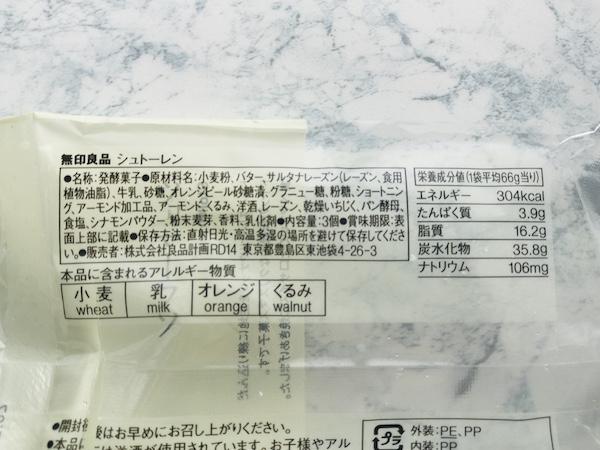 シュトーレンのパッケージの裏面表示