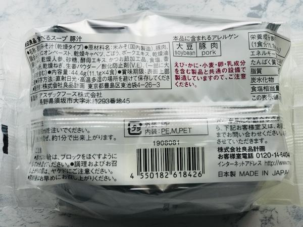 パッケージの裏面表記