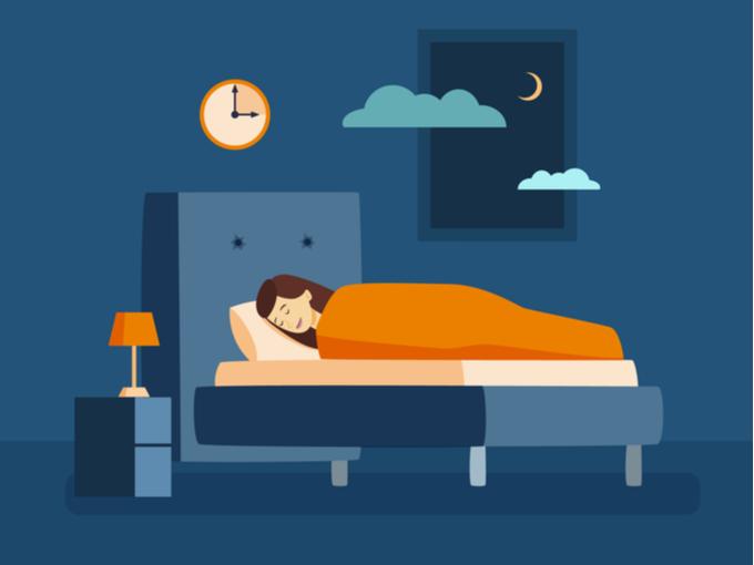 眠りにつく女性のイラスト