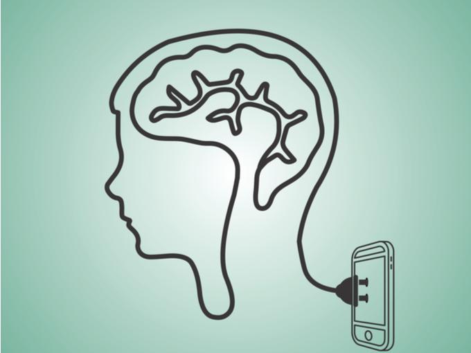 脳のネットワークがスマートフォンにつながっているイラスト